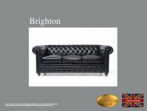 Canapea Chesterfield Brighton Classic, Negru,3 locuri