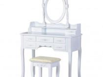 Set Masa Toaleta pentru Machiaj cu Oglinda Ovala Reglabila