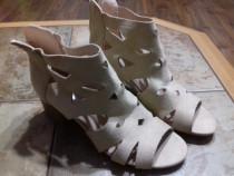 Sandale dama noi, piele sintetica, marime 37, culoare bej