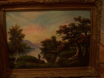 Tablou / pictura cu rama veche, ulei pe panza.
