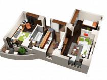 Apartament 3 camere, 60 mp, decomandat, bloc nou cug