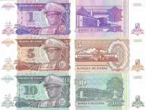 Lot 3 bancnote ZAIR 1993 - UNC