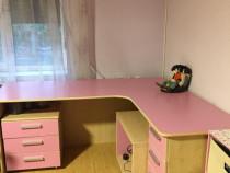 Birou de colt cu sertare culoare roz