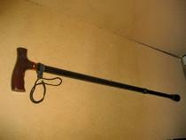 A81-Baston reglabil din metal cu maner lemn si opritor alama
