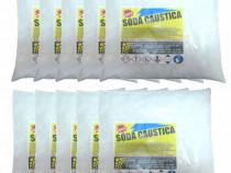 10 bucati - Soda caustica fulgi, puritate 100%, 10 x 1kg