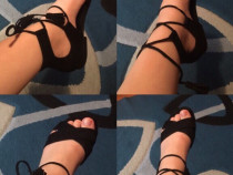 Sandale negre stil gladiator cu șnur
