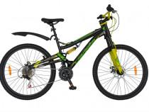"Bicicleta mtb-dh 26"" carpat kaiser, otel, negru/verde c2644a"