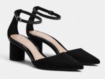 Pantofi cu toc negri piele întoarsă Bershka