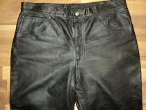 Pantaloni clasici piele naturala,model moto,chopper,strada