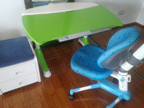 Birou copii + Scaun ergonomic + Dulap cu sertare tip scaun