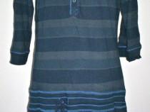 Bluza lunga stil hanorac cu gluga albastru petrol in dungi
