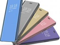 Samsung note 9 - flip case clear view negru albastru purple