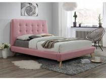 Pat modern din stofa de culoare roz, saltea, 160x200cm