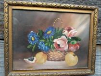 Tablou vechi cu flori albastre