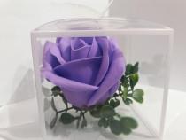 Marturii nunta/botez trandafir de sapun in cutie de acetofan