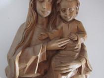 Madonna cu pruncul-sculptura vintage,lemn esenta tare-cadou