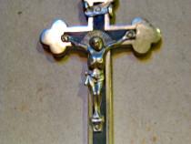 B195-Cruce mica metal insetie lemn anii 1900 manual executat