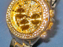 6357-I-Ceas mana functional otel aurit cu imitatie diamante.