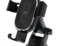 Suport Auto Telefon cu Incarcare Wireless 10w WelL Pilot NOU