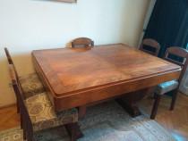 Mobila veche, sufragerie: masa, 6 scaune,servanta, 2 fotolii