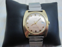Ceas de dama mecanic Timex placat cu aur,bratara inox
