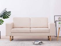 Canapea cu 2 locuri, crem, material textil 281381
