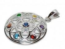 Pandantiv argint chakere floarea vieti pietre semipretioase