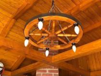 Lustra din lemn , candelabru rustic , corp iluminat lemn