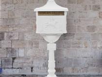 Cutie poștală cu picior, aluminiu, vintage, 43894