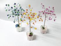 Reducere! 3 pomi decorativi, sarma, margele, copaci handmade