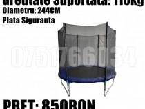 Trambulina Copii Relaxare Rotunda 244cm 110KG Plasa Sigurant