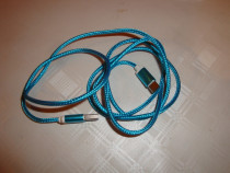 Cablu telefon USB la USB C tip C albastru turcoaz material t