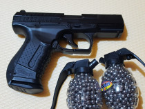 Pistol airsoft nou walther p 99 dao + 1000 bile otel / metal
