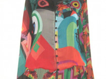 Desigual, Bluza noua, cu peplum si printuri colorate