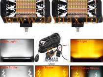 Set 2 proiectoare auto led bar 72w 13 cm cu 2 culori + buton