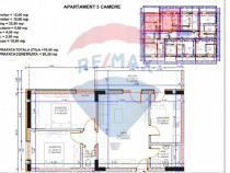 Apartament 3 camere 79.40 mpu