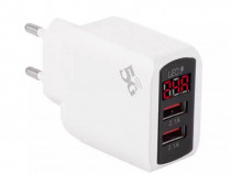 Adaptor Priza Incarcare Fast Charger 2 Iesiri USB si Afisaj