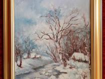 Tablou, pictura, peisaj de iarna, Ana Rusu 1992