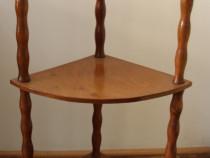 Mic raft de colt vintage din lemn; Etajera cu polite; Suport