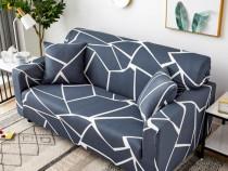 Husa canapea din poliester minimalista gri cu pattern alb