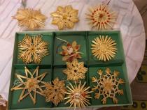 Set decoratiuni din paie pentru bradul de Craciun
