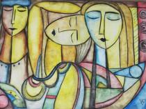 Tablou Cele trei gratii pictura stil cubism ulei panza 50x70