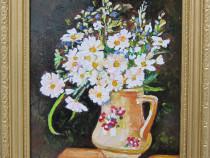 Tablou / Pictura cana cu flori semnat Cimpoesu