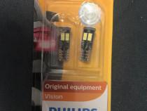 Set 2 Becuri auto cu LED Philips W5W, 12V, 3W, 6000K