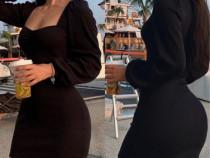 Rochie neagră scurtă cu mâneci bufante si decolteu