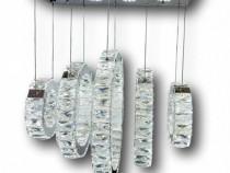 Lustra cristal K9 LED cu 5 segmente circulare