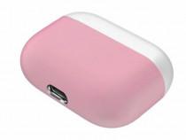 Husa protectie silicon casti AirPods Pro, roz cu alb, carcas
