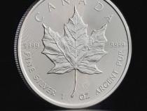 Moneda Lingou 1 Uncie Argint Frunza de Artar Maple Leaf 2021