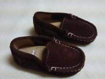 Mocasini pantofi piele intoarsa maro,20