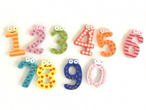 Cifre colorate din lemn cu magnet de la 0 la 9